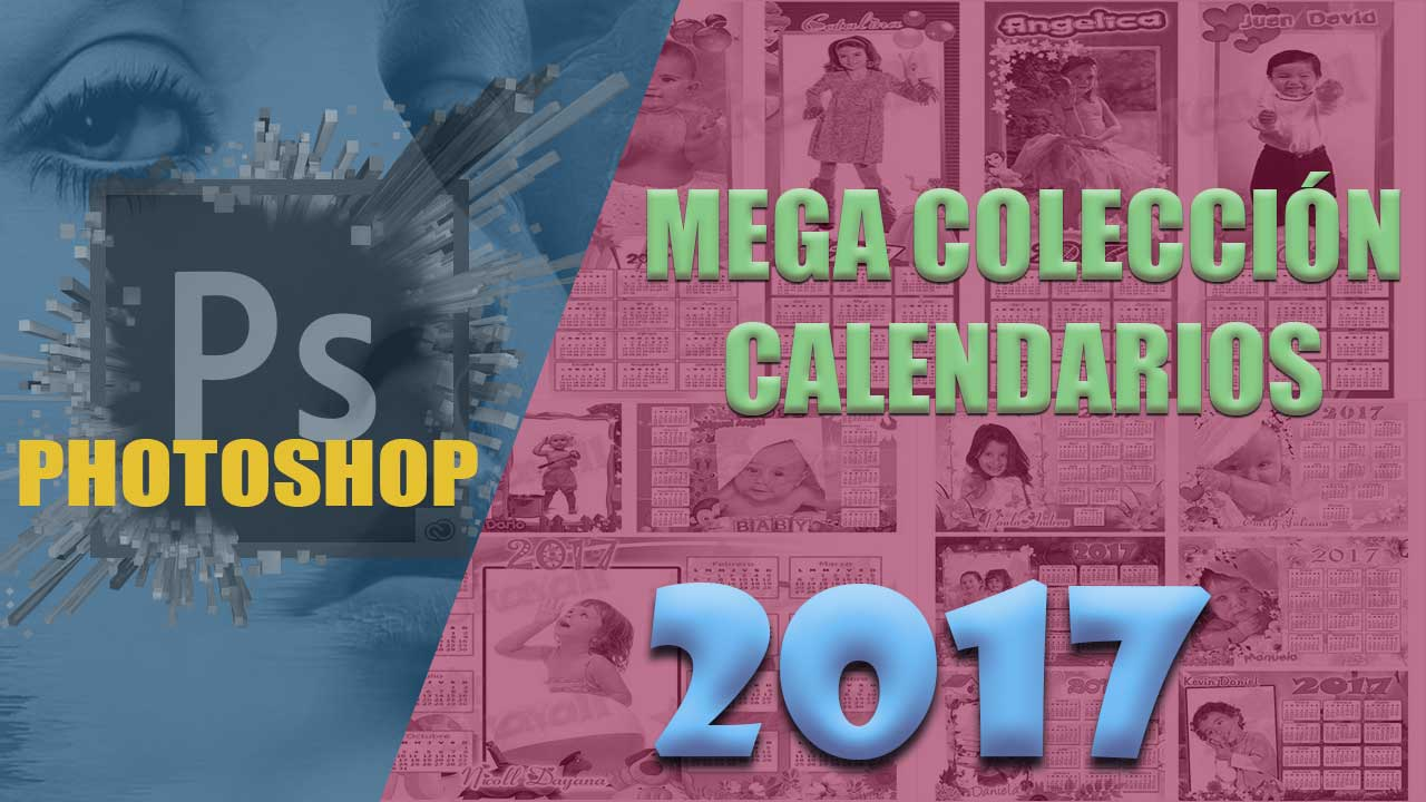 Plantillas para calendarios 2017 editables con adobe photoshop psd